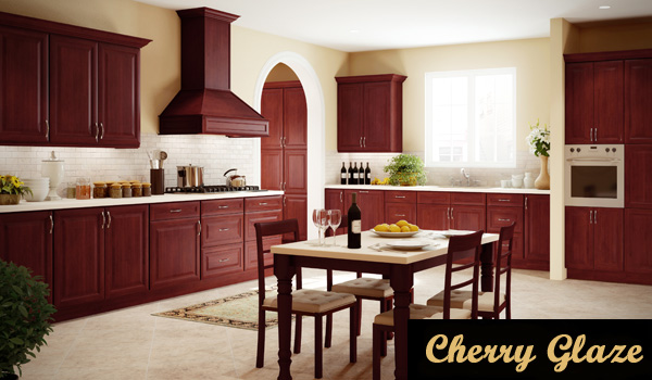 Cherry Glaze Kitchen Cabinets